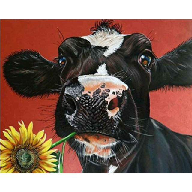 Cow with Sunflower - Coloring by Numbers for Adults