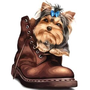 Cute Yorkshire Terrier in a Boot - Drawing by Numbers Kit