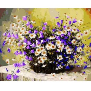 Daisies and Bluebells - Painting by Numbers Size 16 x 20 inch