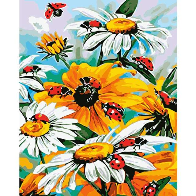 Daisies and Ladybugs - Flower Paint by Number