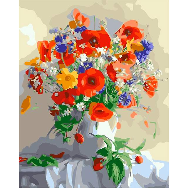 Daisies and Poppies Color by Numbers for Adults