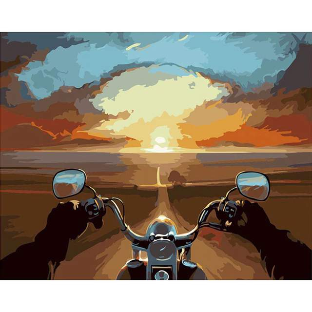 Endless Motorcycle Journey - Coloring by Numbers for Adults