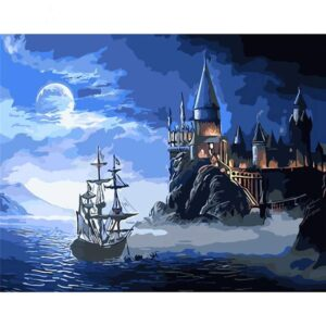 Fantasy Castle and Sailboat at Night - DIY Paint by Numbers Kit