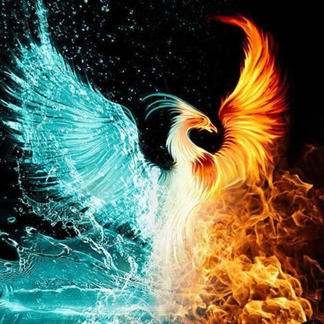 Fire and Ice Phoenix - Acrylic Paint by Numbers