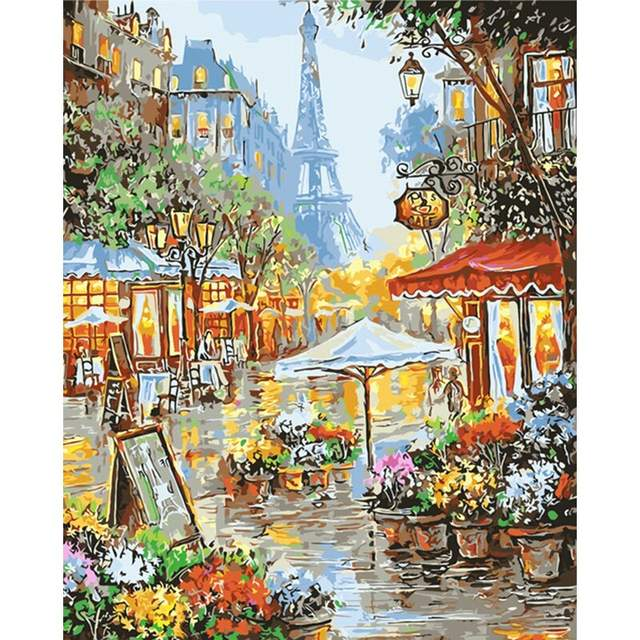 Flower Shop on Street in Paris - Paint by Numbers Kit