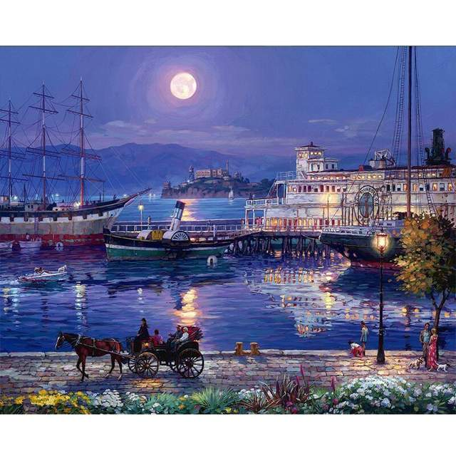 Full moon over San Francisco Bay - Cities Paint by Numbers