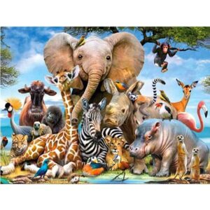 Funny African Animals - Paint by Numbers for Adults