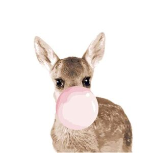 Funny Baby Deer with Pink Gum - Easy Painting by Numbers