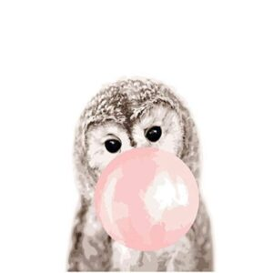 Funny Owl with Pink Gum - Easy Paint by Numbers
