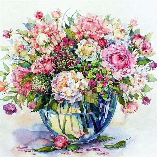 Gentle Floral Still Life - Oil Painting by Numbers