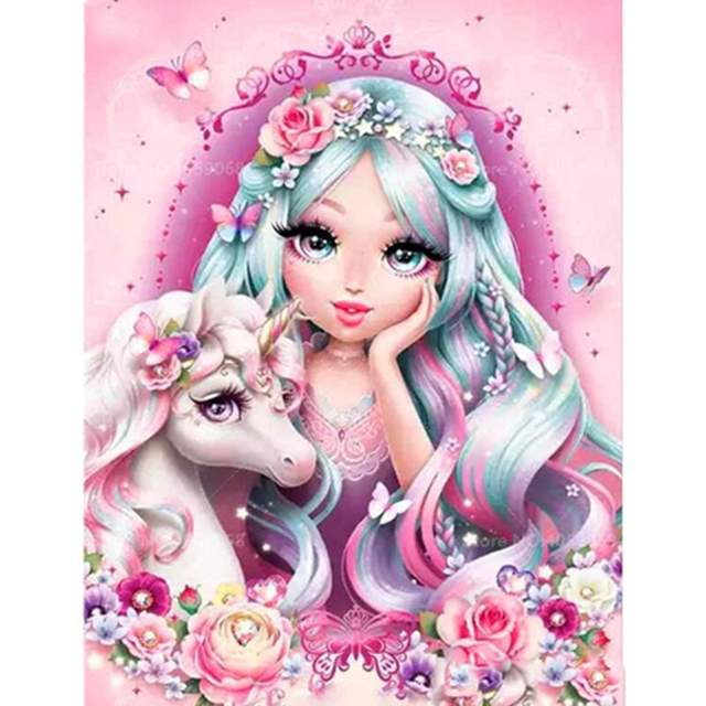 Girl with a Baby Unicorn - Acrylic Picture by Numbers Kit