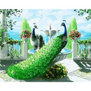 Green Peacocks on Fountain - Birds Painting by Numbers Kit