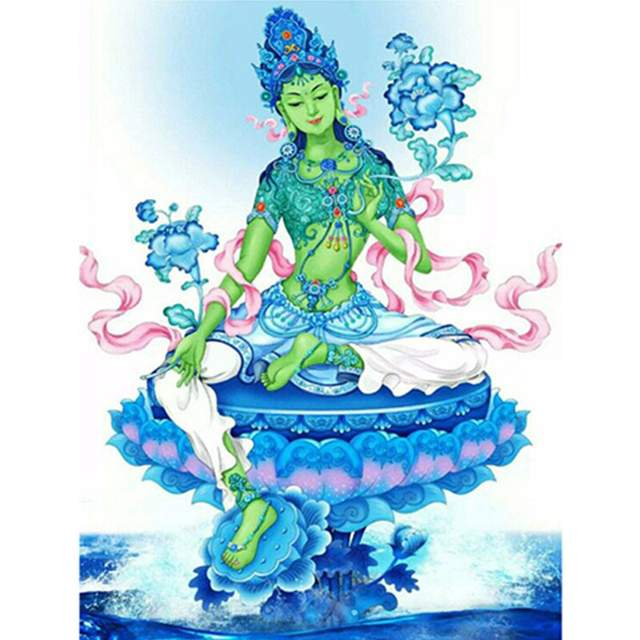 Green Tara with Flowers - Painting by Numbers for Adults