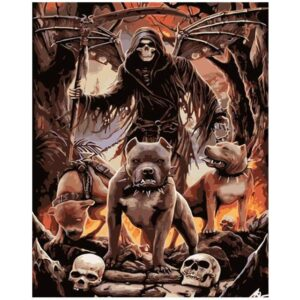 Grim Reaper with Pets Painting on Canvas for Adults