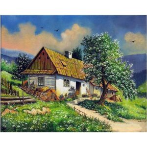 Hillside Cottage - Spring Landscape Paint by Numbers