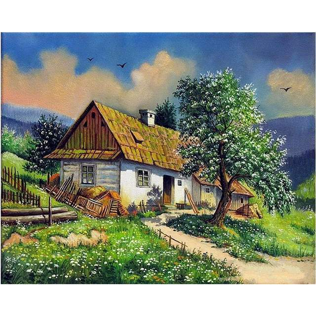Hillside Cottage - Spring Landscape Paint by Numbers