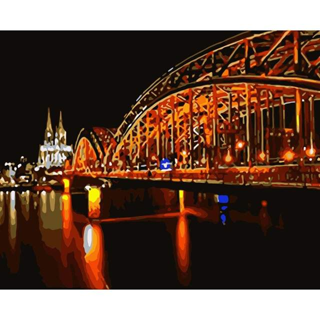 Hohenzollern Bridge at Night - City Painting by Numbers Kit