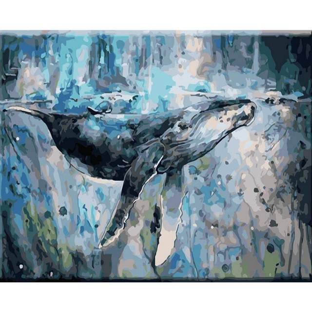 Humpback Whale in Sea - Paint on Canvas Kit