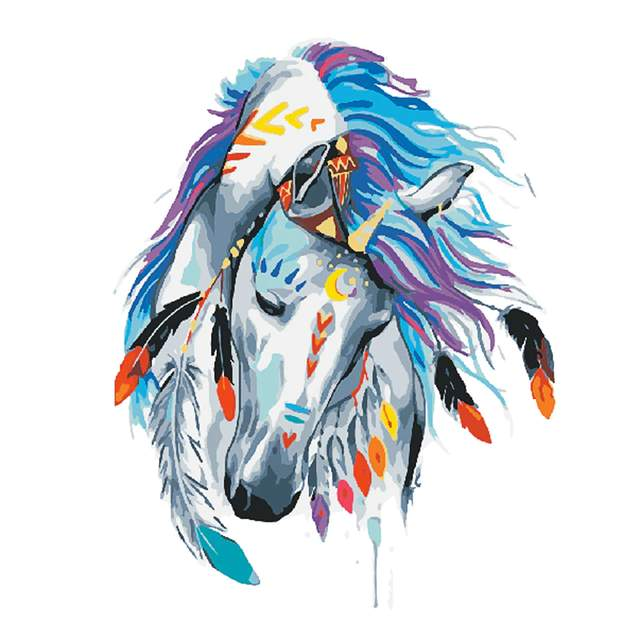Indian Horse Easy Paint by Numbers