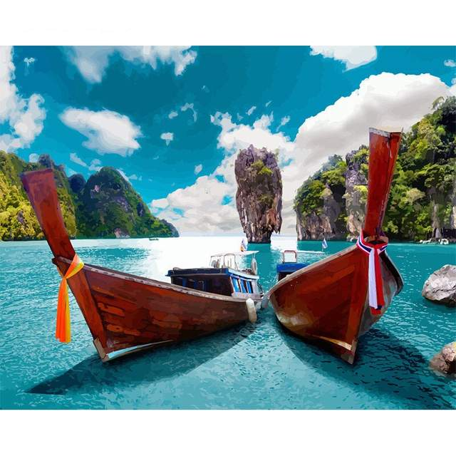 James Bond Paradise Island Boat Trip Oil Paint by Numbers Kit
