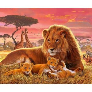 Kilimanjaro Male Lion with Cubs - Paint by Numbers Kit