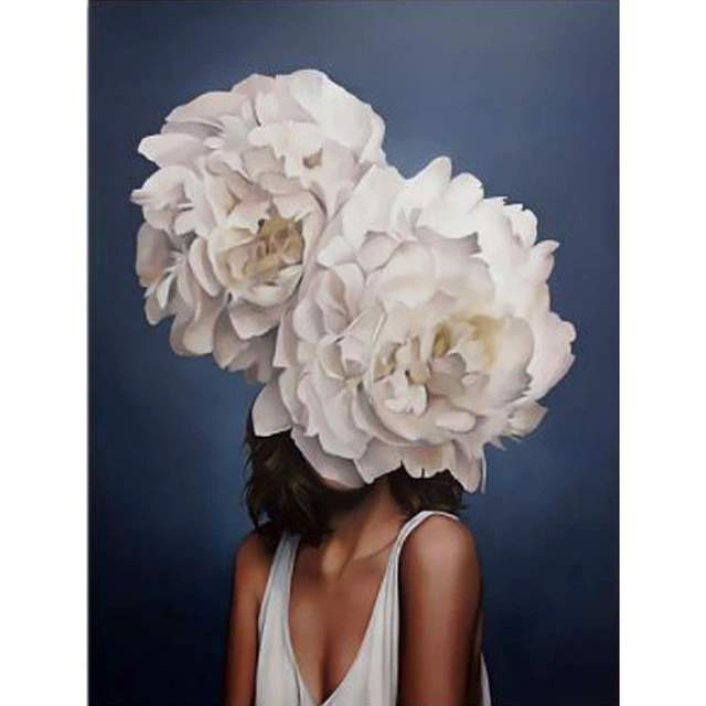 Lady White Peony Head - Paint by Numbers for Girl