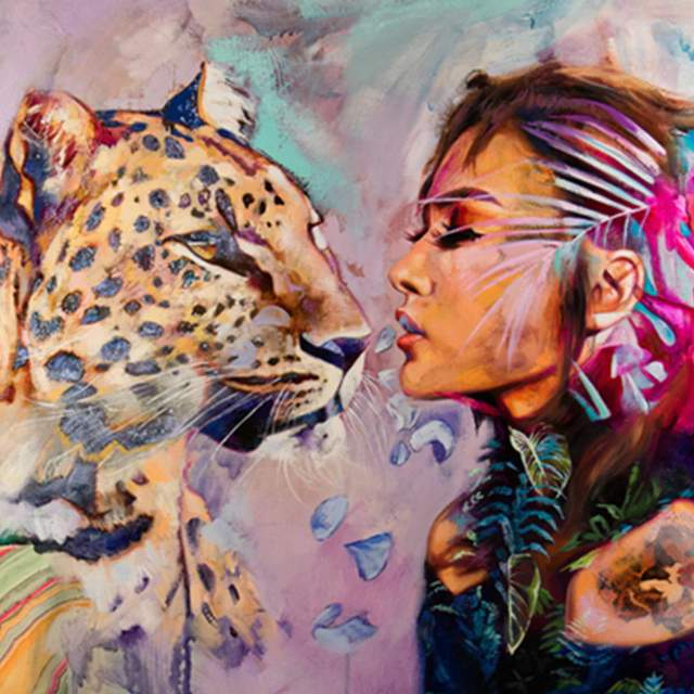 Lady and Leopard - DIY Digital Painting by Numbers