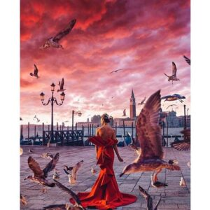 Lady in Red Dress on Pier - Paint by Number Lady