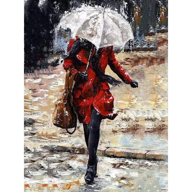 Lady with White Umbrella - Paint by Numbers for Sale