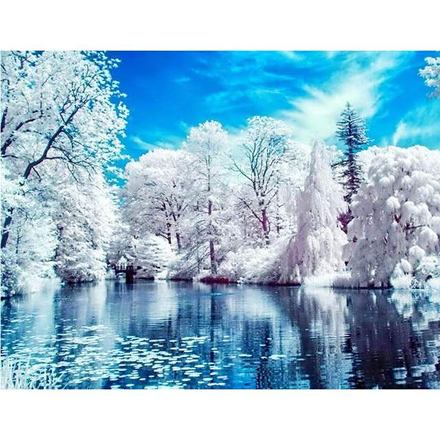 Lake in Winter Forest - Landscape Paint by Numbers Kits