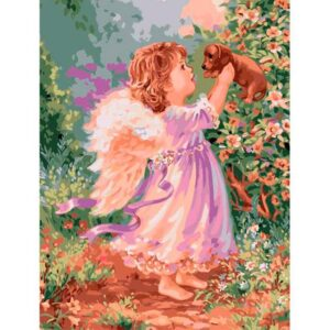 Little Angel with Puppy - DIY Paint by Numbers
