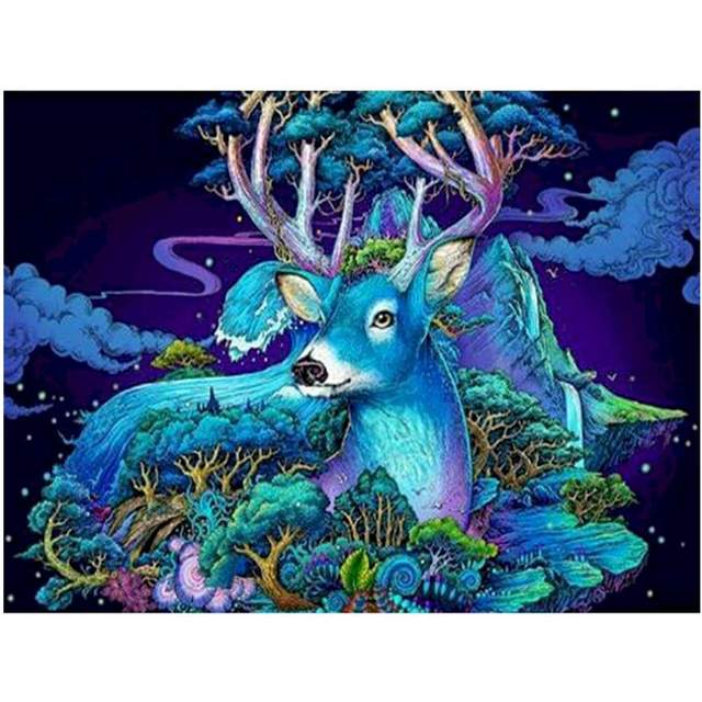 Magical Deer Blue Tree - Animals Color by Numbers for Adults