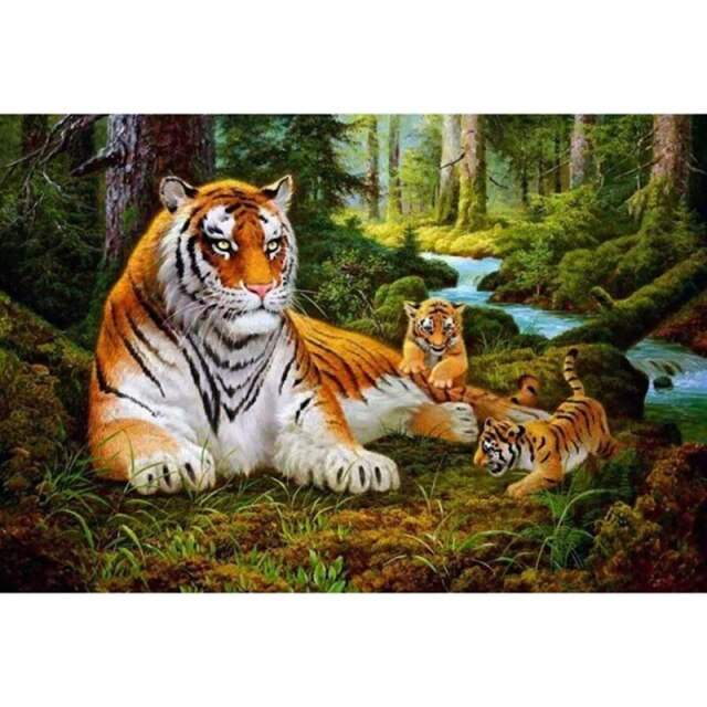 Mama Tiger and Babies - DIY Coloring by Numbers