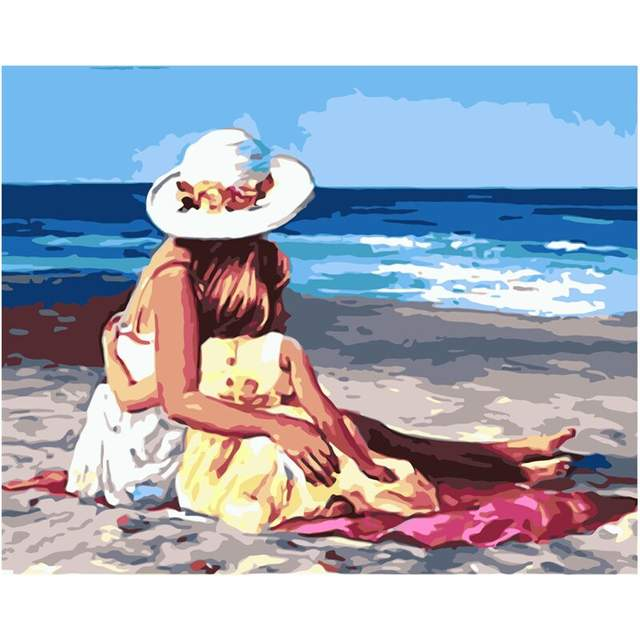 Mother and Daughter on the Beach Acrylic Painting by Numbers