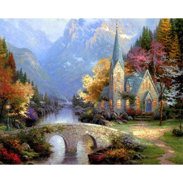 Mountain Chapel - Painting by Numbers Kit