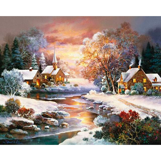 Mountain Creek Village in Frosty Evening - Paint on Canvas for Adults