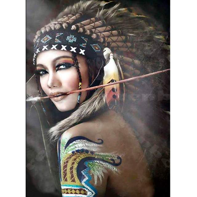 Native American Indian Woman with Arrow Paint by Numbers