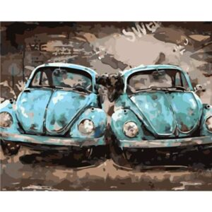Old Blue Bug Cars - Oil Paint by Numbers Kit