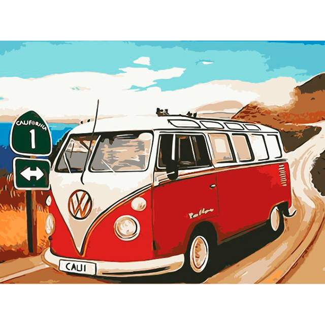 On the Road to California Again Retro VW Camper Van - Paint by Numbers