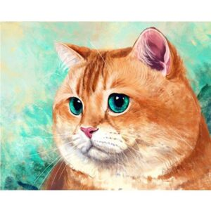 Orange Cat with Turquoise Eyes - Paint by Numbers