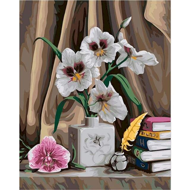 Orchids Flowers on Desk - Paint by Numbers
