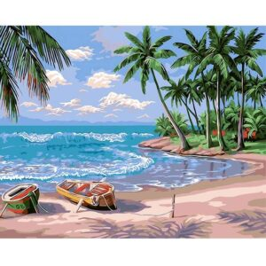 Paradise Tropical Island Oil Paint by Numbers Kit