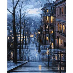 Paris Street at Night - Cityscape Painting by Numbers for Adults