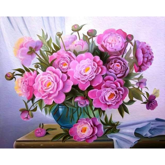 Peonies in a Vase - Acrylic Painting by Numbers Kits