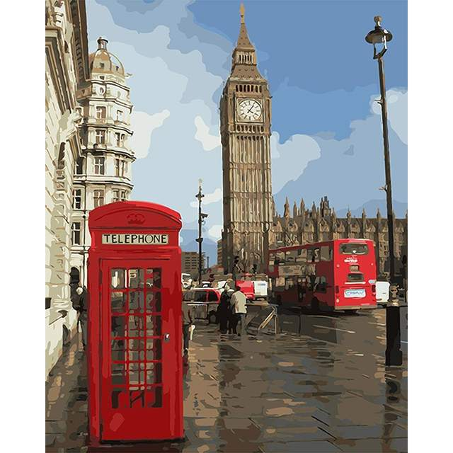 Phone Booth and London Big Ben - Color by Numbers with DIY Frame