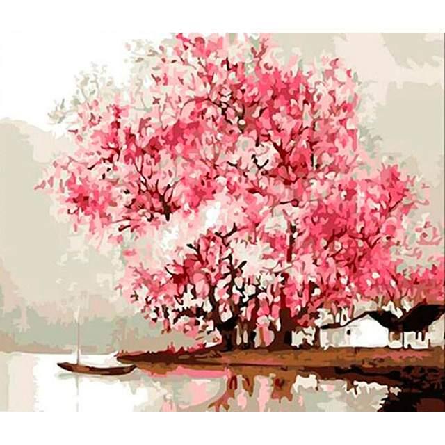 Pink Flowering Tree on River Coast - DIY Drawing by Numbers Kit