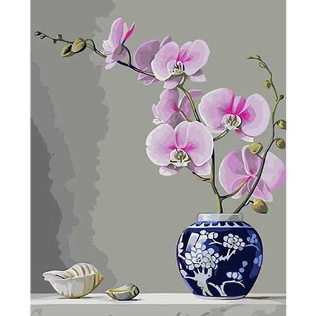 Pink Orchid Flower and Seashells - Paint by Numbers Kit