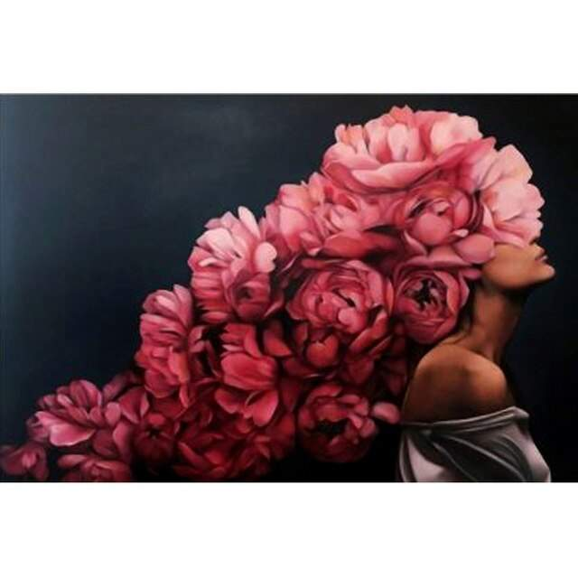 Pink Peony Bush on a Woman Head - Coloring by Numbers Kit