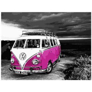 Pink Volkswagen Camper Van - Best Paint by Numbers