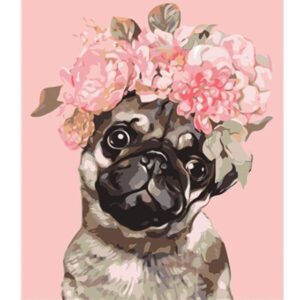 Pug with Roses on Head - Dog Coloring by Numbers Kits